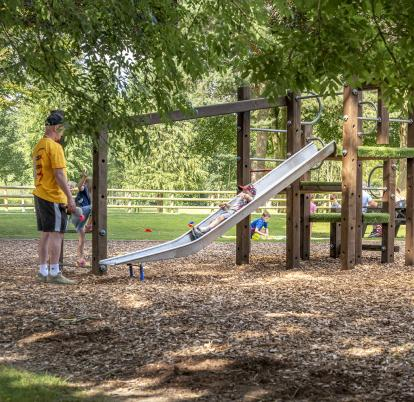One of the children's play areas at Pearl Lake country holiday park, Herefordshire