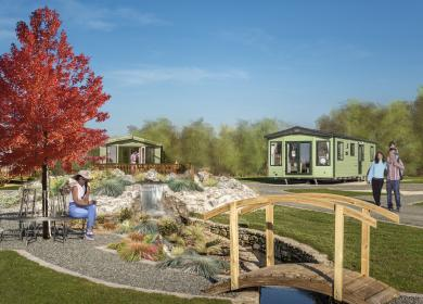 New static caravan development at Arrow Bank 5 star country holiday park